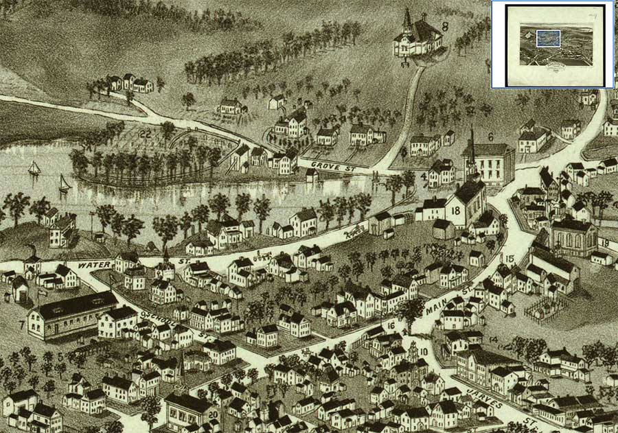 1884 Bird's Eye View by Poole